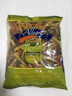 Allegra Penne Rigate Tomato Spinach Macaroni