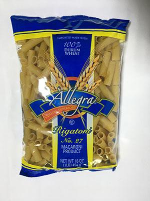Allegra Rigatoni Macaroni 454g