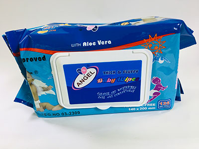 Angel Baby Wipe With Aloe Vera 140 by 200mm